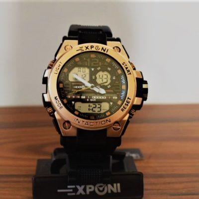 Ρολόι Exponi Μαύρο-Ροζ Χρυσό