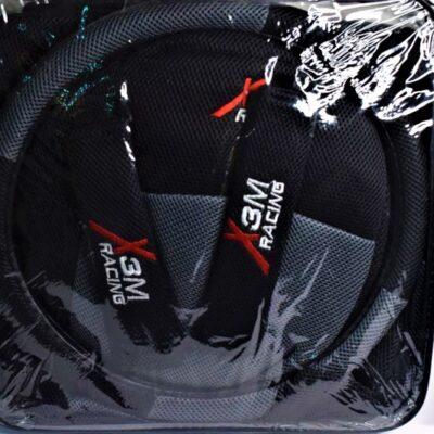 """Σετ καλύμματα αυτοκινήτου για καθίσματα + τιμόνι + ζώνη ασφαλείας """"X 3M Racing"""" / Γκρι"""