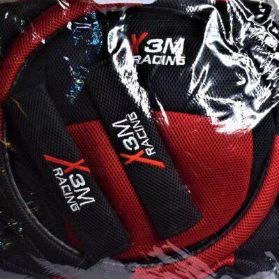 """Σετ καλύμματα αυτοκινήτου για καθίσματα + τιμόνι + ζώνη ασφαλείας """"X 3M Racing"""" Κόκκινα"""