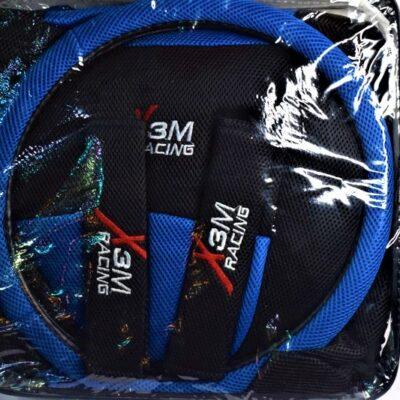 """Σετ καλύμματα αυτοκινήτου για καθίσματα + τιμόνι + ζώνη ασφαλείας """"X 3M Racing"""" Μπλε"""