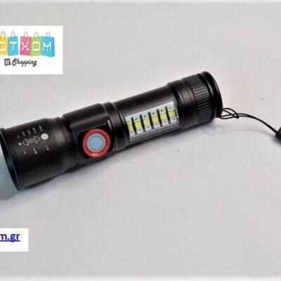 Φακός LED επαναφορτιζόμενος με USB – Μαύρο