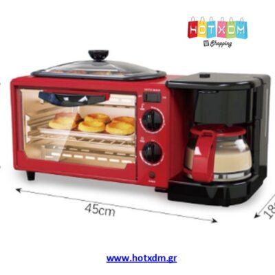 3 in 1 Breakfast maker Haeger HG-5308R Φουρνάκι 3σε1